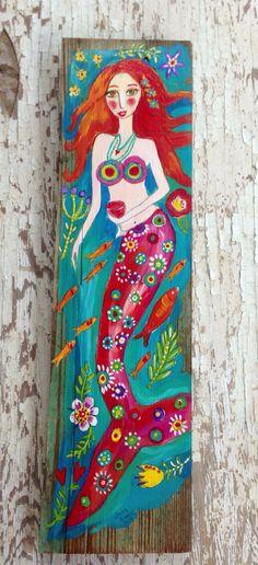 Gypsy Mermaid Beach House Decor Pink on Etsy, $58.00