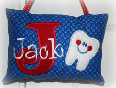 Boys Tooth Fairy Pillow  Personalized by SandDStitches on Etsy, $22.00