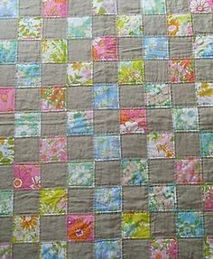 Vintage sheets quilt, Love the gray with the vintage sheets
