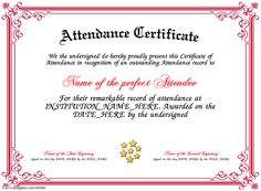 Certificate creator certificatefun great website where you attendance present an attendance certificate to a person in your school business factory yelopaper Choice Image
