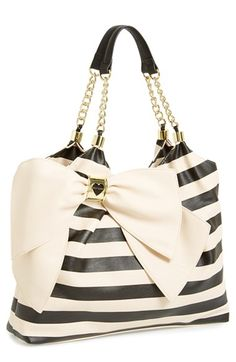 Striped bow tote? Yes, please! Someone wanna be a doll and buy this for me? Or any other bow handbag by Betsy Johnson will be fine, Im not picky at all!