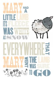 Nursery Rhyme - mary had a little lamb-free printable