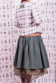 Cotton and linen blouse and velveteen skirt / Oksana Solovaya  https://www.etsy.com/shop/SomDress