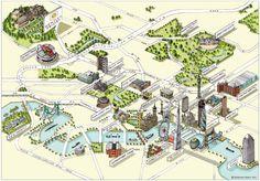 拿著放大鏡勾勒線條的地圖插畫作品  Katherine的地圖作品無論規模大小,都用手繪製線稿。再經過細緻考究建築的真實樣貌後,按照比例畫於地圖中。接著再到電腦裡進行上色。但是她說,她還是最喜歡前面那段拿著放大鏡,用代針筆勾勒出線條的階段。Katherine細膩的構圖、搭配著城市氛圍的用色 ; 有方正的格局,但適時打破框架。使得整個畫面聚焦卻不乏空間感,精緻同時清新活潑,值得讓人慢慢欣賞。