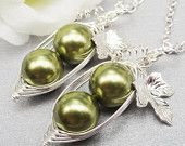 Set Of 2 Peas In A Pod Necklace  Choose Your Color Swarovski Pearls