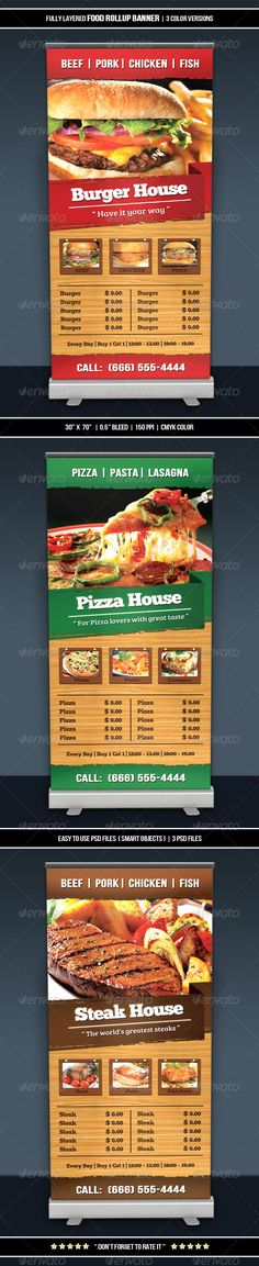 Food Roll-up Banner ...  appetizers, banner, burger, business, card, chef, classic, cook, cooking, cuisine, dinner, fast food, food, gastronomy, gourmet, kitchen, lunch, meal, menu, modern, print ready, realistic, restaurant, service, steak