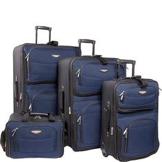 Luggage Travel Accessories Sets Carry On Checkin Suitcase Suitcases 4 Piece Navy #Travel