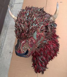 Upholstered Faux Taxidermy Bison Buffalo in by LittleStagStudio