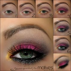 Get the Look with Motives  : 1 Apply the Motives Eye Base ,2 Apply Hot Chocolate onto the crease & blend it out with Creme Fresh ,3 Apply Goddess onto the inner corner of the eye, 4 Apply Escape onto the lid ,5 Apply the Khol Eyeliner onto the waterline and smudge it with Midnight along the lower lash line, darken the outer v with the shade.  6 Add Motives Glitter Adhesive along the lower lash line & carefully tap on the glitter Aspire