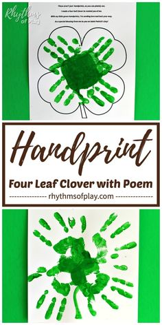 Handprint clover craft for kids - Use this four leaf clover handprint poem printable art template to make a clover handprint at home, or, in the classroom. A gift idea mom, dad, and the grandparents LOVE! Easy Crafts, Diy And Crafts, Easy Diy, Crafts For Kids, Paper Plate Fish, Diy Blanket Ladder, Unicorn Ornaments, Diy Headboards, Four Leaf Clover