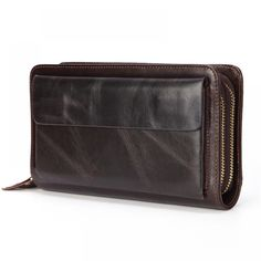 """Business Genuine Leather Clutch Wallet  Price: 43.00 & FREE Shipping """"Fashion is Self-Expression: It's not the brand that makes you, but its how you brand yourself in whatever you wear"""" by Cadilyn Trends. We share our business motto with you. Visit our store and check out our collections. #Fashion Wallet With Coin Pocket, Large Wallet, Coin Wallet, Coin Bag, Clutch Wallet, Zip Around Wallet, Cowhide Leather, Cow Leather, Leather Clutch"""