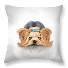 Chilling Throw Pillow by Catia Cho Chilling, Yorkie, Throw Pillows, Art, Art Background, Cushions, Decorative Pillows, Kunst, Gcse Art