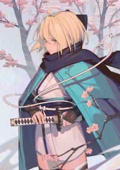 Kai Fine Art is an art website, shows painting and illustration works all over the world. Anime Oc, Manga Anime, Manga Art, Kawaii Anime, Fantasy Characters, Anime Characters, Character Concept, Character Art, Katana Girl
