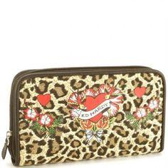 Kim Flower Girl Zip Around Wallet - Leopard Ed Hardy. $14.99