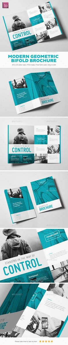 Modern Geometric Bifold Brochure Template InDesign INDD. Download here: https://graphicriver.net/item/modern-geometric-bifold-brochure/17024505?ref=ksioks