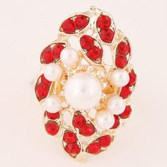 Rhinestone and Pearls Embellished Royal Fashion Floral Cluster Ring - Red