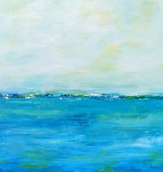 Original Abstract Landscape Seascape Beach by paintallnightstudios, $165.00