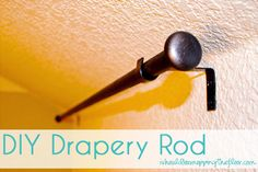"i should be mopping the floor: DIY Drapery Rod {on the cheap!drawer pulls why didn't I think of that.I've had gaping holes for months now trying to think of what to stick there! I ultimately want vintage door knobs, but haven't found the ""ones"" yet Remodeling Costs, Basement Remodeling, Cheap Home Decor, Diy Home Decor, Room Decor, Drapery Rods, Curtain Rods, Curtain Call, Living Room Remodel"