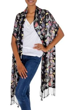 Silk-Batik-Shawl-Floral-Handcrafted-039-Night-in-the-Garden-039-NOVICA-Bali