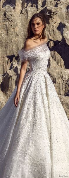 tony ward fall 2018 bridal off the shoulder straight across neckline full embellishment romantic a line wedding dress chapel train (6) lv #weddingdress