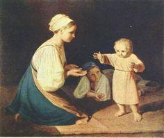 Алексей Венецианов -  First Steps (Peasant Woman with child)   - Открыть в полный размер