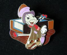 Disney Pin WDW Jiminy Cricket Dressed in Rags with Matchbox Pinocchio