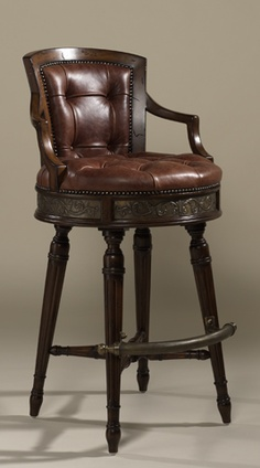 Shop for Maitland Smith Frontier Finished Mahogany Swivel Barstool Deep Button Red Brown Leather Upholstery and other Bar and Game Room Stools at