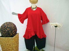 Tunika, A-Form,Rüschen,Gr. von 48 - 64 ,Leinen von HKB-Dress auf DaWanda.com