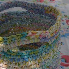Multicolored Large Crochet Fabric Bin
