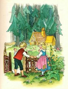 paintings from an old edition of Grimm's fairy-tales. The illustrator's name is not mentioned on the book. Hansel Y Gretel, Brothers Grimm, Vintage Fairies, Grimm Fairy Tales, Gif Animé, Children's Book Illustration, Art Pages, Nursery Rhymes, Vintage Prints