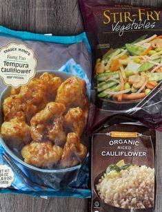 Trader Joes Food, Trader Joe's, Trader Joe Meals, Tempura Cauliflower, Riced Cauliflower, Vegetarian Recipes, Healthy Recipes, Trader Joes Vegetarian, Sushi Recipes