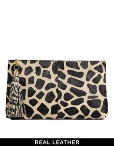 River Island Black Leather Giraffe Print Ponyskin Large Clutch