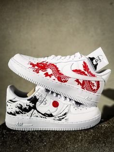 Nike Shoes OFF!> Custom sneakers Nike Air Force 1 Red dragon х The Great Wave off Kanagawa Dr Shoes, Nike Air Shoes, Hype Shoes, Me Too Shoes, Shoes Men, Adidas Shoes, Cool Nike Shoes, Zebra Shoes, Youth Shoes