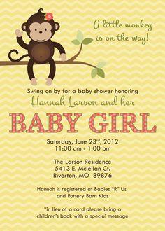 little girl monkey baby shower invitations, baby shower invitation with monkey, Digital, Printable file. via Etsy.