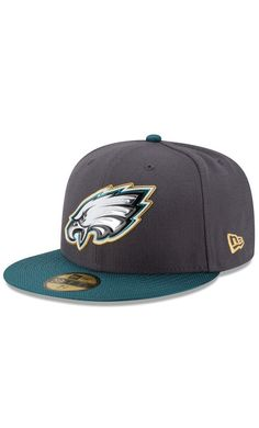 NFL Men's Philadelphia Eagles New Era Graphite/Midnight Green Gold Collection On Field 59FIFTY Fitted #Hat #outdoors