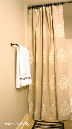 DIY Curtains again - I really like this and would love to try it for our bath.