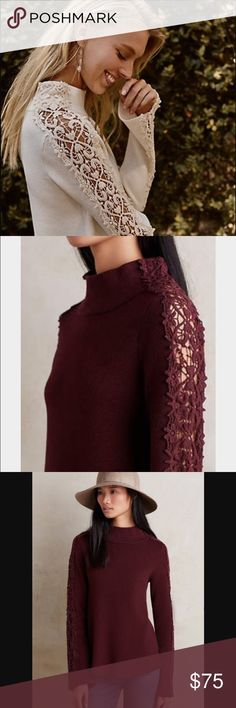 Anthropologie Lace Funnelneck Sweater S Anthropologie Lace Funnelneck Sweater S. Gorgeous plum wine color (NOT cream version, just included to show design better). Size S, but runs big. Could easily fit a medium in my opinion. Lace sleeves. Very high quality, thicker knit. I wanted this to work for me, but it's too big. I need an XS. Tags on! No flaws! Anthropologie Sweaters