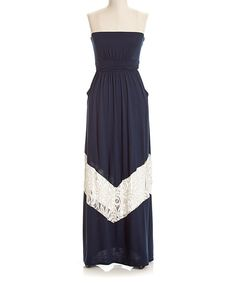 Look what I found on #zulily! Navy & White Chevron Lace Strapless Maxi Dress by Coveted Clothing #zulilyfinds
