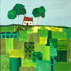 House on patchwork hill original paper collage painting by