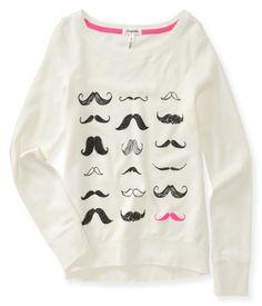 Many Mustaches Sweatshirt - Aeropostale