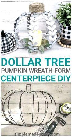 Best Indoor Garden Ideas for 2020 - Modern Dollar Tree Pumpkins, Dollar Tree Fall, Dollar Tree Decor, Dollar Tree Crafts, Dollar Tree Halloween, Halloween Wreaths, Halloween Halloween, Pumpkin Wreath, Pumpkin Crafts