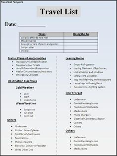 Travel List Template Download Page | List Template