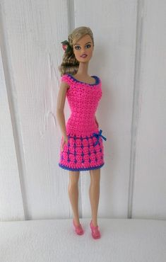 Clothes for Barbie Crochet Dress for Barbie Doll Crochet Barbie Patterns, Knitted Doll Patterns, Knitted Dolls, Knitting Dolls Clothes, Crochet Barbie Clothes, Custom Barbie, Barbie Dolls, Delivery, Dresses