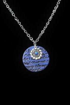 Indigo Blue Word necklace...my friend Melissa makes this beautiful jewelry. find supplies #word charms #bezels #glass domes #chains #stamping blanks at eCrafty.com