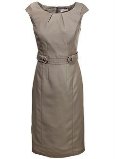 Vestido Tubinho com Botão na Cintura Marrom - Posthaus