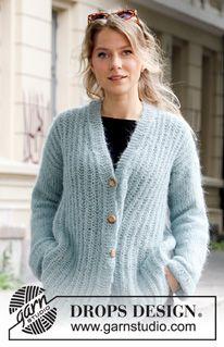 Searching for Spring Jacket / DROPS - Gratis strikkeopskrifter fra DROPS Design Knitting Patterns Free, Knit Patterns, Free Knitting, Free Pattern, Drops Design, Spring Jackets, Long Jackets, Crochet Cable, Crochet Diagram