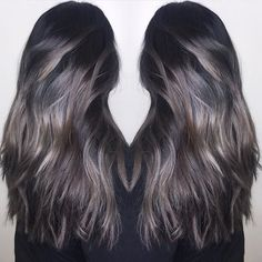 Love this. A meld of cool toned silver and brunette. Color by @jimmyhilton  #hair #hairenvy #haircolor #brunette #silver #ombre #balayage #highlights #newandnow #inspiration #maneinterest