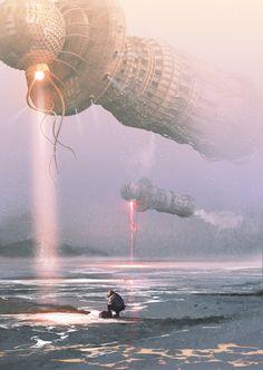 Зимняя рыбалка. Открытие сезона. зима, рыбалка, Sci-Fi, freelance, концепт, арт