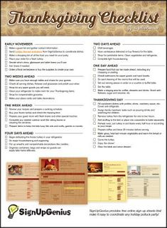 Plan for a smooth Thanksgiving meal with this downloadable checklist with tips and ideas from what groceries to buy when and setting a cooking schedule.