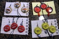 these recycled bottle cap earring and necklace set are just plain cute!  check out more stuff at bonanza.com/booths/gray storm creations or etsy.com/shop/graystormcreations